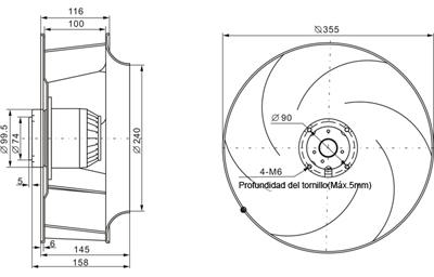 Ventilador centr fugo con aspas curvadas hacia atr s for Aspas para ventiladores