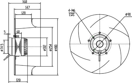 Ventilador centr fugo de aspas curvadas hacia atr s para for Aspas para ventiladores